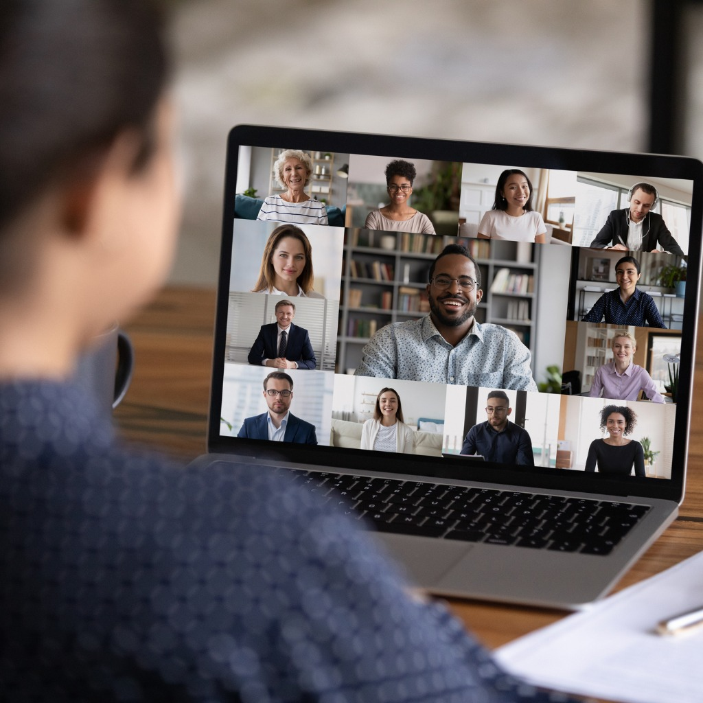 rear-view-of-woman-talk-on-video-call-with-colleagues-picture-id1282984212